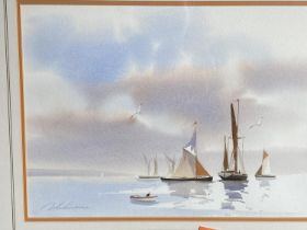 """Set of 3 watercolours, """"Beach and boat scenes"""", signed in pencil lower left, 27 x 37cm Framed and"""