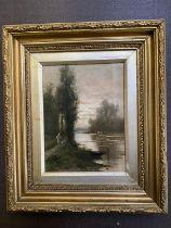 """WILLIAM HULK (1852-c1906) oil on canvas """"Riverside scene"""" signed lower left 20 x 15 in gilt frame"""