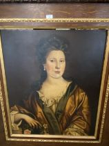 Oil on canvas, portrait of a lady, dressed in C18th style, half length, in oak frame, 77 x 63cm