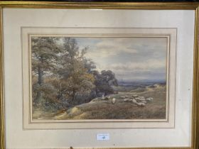 """HAROLD LAWES (1865-1940), watercolour, """"Rural scene with figures and sheep"""", signed lower right 23 x"""