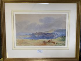"""JOSEPH TOSTER watercolour """"Rural landscape with cattle before a village"""" signed lower right, dated"""
