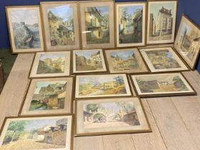 A good Collection of 14 framed and glazed Continental watercolours, After AG Smith, places