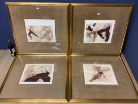 """A good set of four large framed and glazed prints after Guillaume Azoulay """"Dramatique, Retire,"""