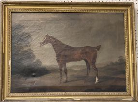 """CHARLES BRANSCOMBE (ACT 1803-1819) Oil on canvas """"Chestnut hunter and fox. Signed lower right"""