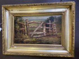 """Manner of FREDERICK HENSHAW, Oil on wood panel """"The rickety five bar gate"""", 18 x 30cm in gilt frame"""