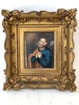 """Continental oil on board or ivorine """"Religious man half length"""" 13 x 10 gilt frame unexamined out of"""