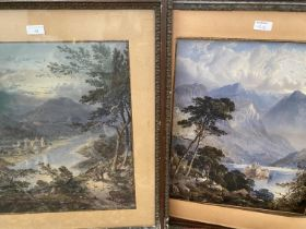 """Pair of Continental colour prints, """"lakeside scenes"""", 43 x 37cm, framed"""