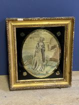 """Silk work picture, """" lady holding a branch"""", oval, in Verre eglomise and giltwood frame, 25 x"""