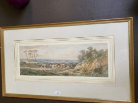 """Attributed to Henry Earp watercolour, """"Cattle with drover"""" unsigned 18 x 53 framed and glazed"""