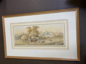 """HENRY EARP watercolour, """"Cattle before a church"""" label on verso - View from the fields of"""