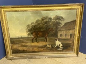 """CHARLES BRANSCOMBE (ACT 1803-1819) Oil on canvas """"Bay cob, spaniel, pug before barn"""" signed lower"""