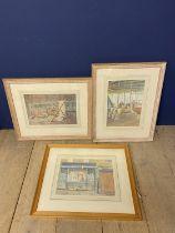 "SARAH BEDDINGTON, three watercolours, ""Fairground horses, Cosmopolitan, & Deckchair & ladder"" each"