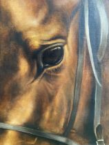 """CHARLES LANGTON oil on canvas """"Horses Head"""" signed lower right 100 x 80, an early work from an"""
