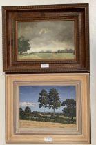 "Christopher Hankey oil on board ""landscape near Crockham Hill"" 19 x 26 framed . Oil on wood panel """