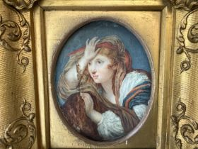 """Continental oval miniature """"Young woman with flowing locks pre Raphaelite style """" watercolour"""
