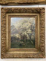 """ALEXANDRE DEFAUX, (1826-1900), oil on artist board, """"Poirier en Fleurs"""", signed lower left, Titled"""