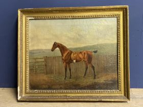 """R P NODDER (ACT. 1795-1820), Oil on canvas, """"Saddled bay hack by a gate"""" signed lower left, dated"""
