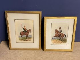 """Richard Simkin (1840-1926), pair of watercolours """"Cavalry officers mounted"""" signed lower"""