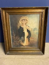 C19th watercolour Young girl in a bonnet 41 x 33 in gilt frame (Provenance: local country house