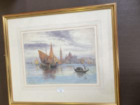 """HUBERT JAMES MEDLYCOTT (1841-1920) watercolour, """"Venice"""" signed lower left dated 1914 title lower"""