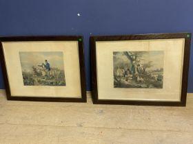 "After S Jones, pair of colour prints ""Gamekeepers refreshing and Gamekeepers return 34 x 43 framed"