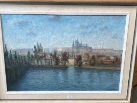 JOSEF STEPAN MALECEK (1890-1983) Oil on canvas, Prague city view along the Charles Bridge, signed