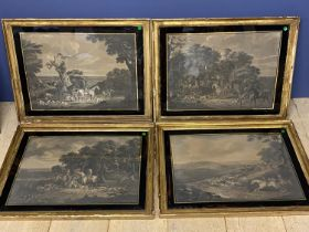 After JN Sartorious, set of 4 B&W prints, Foxhunting, in verre inglese black frames 41 x 57 (