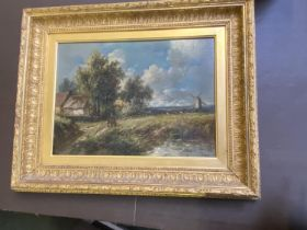 """JOSEPH THORS (1835-1920) oil on artists board """"Rural scene with windmill"""" signed lower right in gilt"""