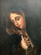 """Continental, Oil on board, laid on wood panel, """"Young lady head and shoulders, wearing a shawl, """" in"""
