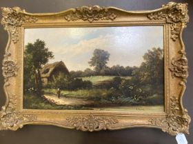 """R PERCY oil on canvas, """"The Country Lane"""", signed lower right, 30 x 50, in gilt frame (some wear"""