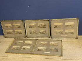 C19th 20 colour book plates, hunting and racing , 4 in a frame in gilt frames (Provenance: local