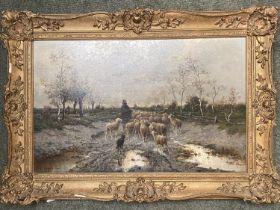 "J L GORYOT (?), oil on canvas, ""Shepherd and Sheep returning home"", MacConnal-Mason label verso ("