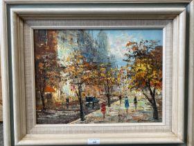 Christi Oil on canvas .. Japanese street scene. Signed lower right 30 x 40 cm framed.