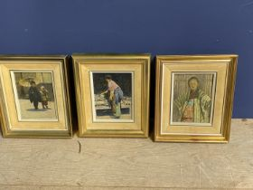 After Mortimer Menpes, a near pair of colour engravings, 13 x 12; 14 x 12cm, signed in pencil; After