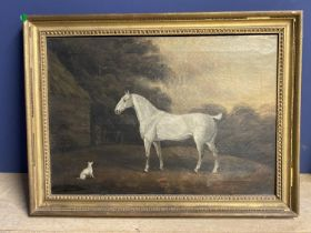 """CHARLES BRANSCOMBE (ACT 1803-1819) Oil on canvas - """"Grey cob and dog """" 43 x 62 in gilt frame ("""