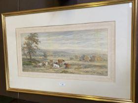 "HENRY EARP watercolour, ""Cattle resting"" signed lower right 24 x 52 framed and glazed"