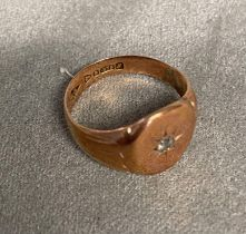 9ct rose gold gents signet ring, star set with small old cut diamond, 4.8g, size P