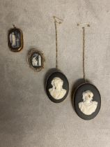 3 Wedgwood black basalt cameo brooches in 9ct open work mounts