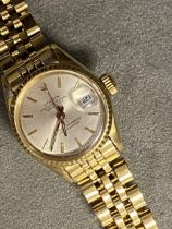 ROLEX, ladies oyster perpetual date just, superlative chronometer, on a Rolex oyster 18ct gold