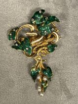 C19th, Unmarked yellow metal diamond and enamel seed pearl brooch, green enamel leaves with rose cut