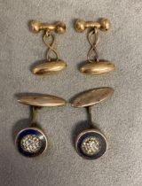 Pair of gents 9 ct gold cufflinks, and a pair of yellow metal and enamel cufflinks