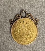 1898 One South African gold coin, on a 9ct mount, 8.6grams