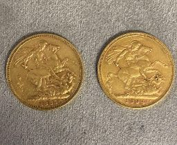 2 Victorian old head gold sovereigns, 1889, and 1894, each stamped with mint mark, M, verso, 16