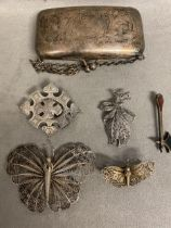 Sterling silver Scottish hardstone brooch in the form of an axe, and 2 white metal filigree brooches