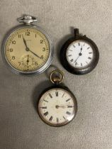 Two silver ladies pocket watches and a gents white metal example