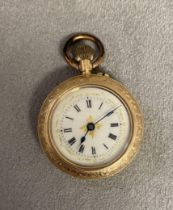 14ct gold French ladies pocket watch with gilt and enamel dial, crown wind movement