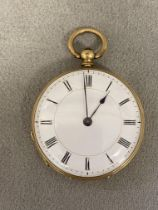 15ct gold cased key wind open faced gents pocket watch
