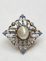 Late C19th blister pearl diamond and enamel brooch, by Carlo Giuliano. Marked CG to oval