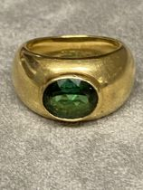18ct gold and green tourmaline ladies ring in the style of Kiki Macdonough