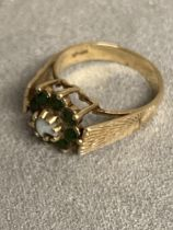 9 ct gold Emerald and Opal flower ring 4 g, size N